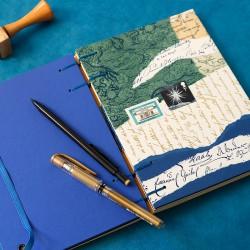 Carnet artisanal de note A5 poétique bleu