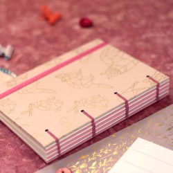 Carnet copte petite taille A6 rose
