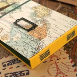 Album photo voyage jaune avec étiquette à remplir